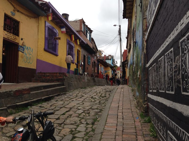 Colorful streets of old town Bogota.