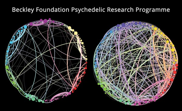 The 'normal' brain on the left (few controlled high ways) and the brain on Psilocybin (many new roads open), a graphics based on fMRI functional connectivity data.