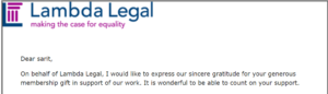 Thank you message from Lambda legal. click image to donate too!